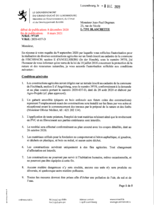 Autorisation pour la modification d'une construction agricole à Angelsberg (In der Hoecht)