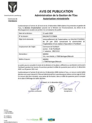 Renouvellement de l'autorisation concernant la construction et l'exploitation d'une station d'épuration à Fischbach