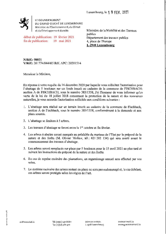 Autorisation pour l'abattage de cinq bouleaux à Fischbach