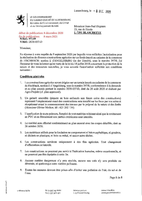 Modification de l'autorisation pour la réalisation de diverses constructions agricoles à Angelsberg