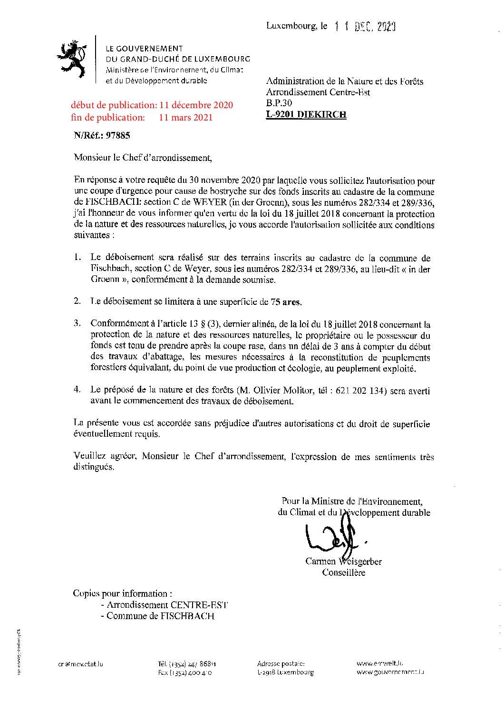 Autorisation pour une coupe d'urgence in den Groenn (Weyer)