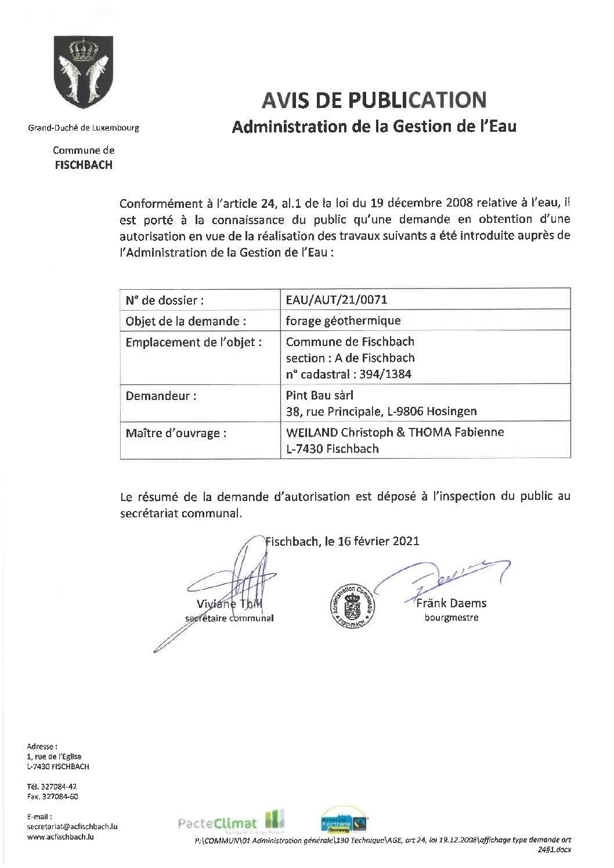 Autorisations pour 4 forages géothermiques à Fischbach