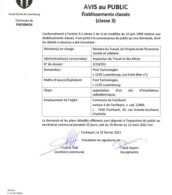 Autoriation pour l'exploitation d'un site d'installation radioélectriques à Fischbach