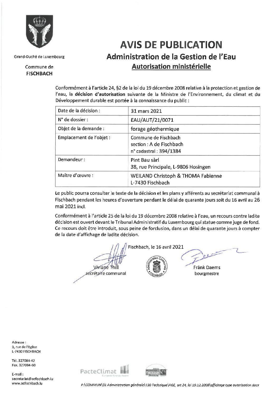 Autorisation pour 4 forages géothermiques à Fischbach