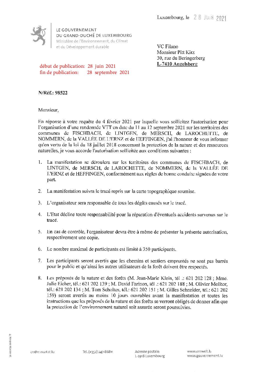 VC Filano : Randonnée VTT en date du 11 au 12 septembre 2021